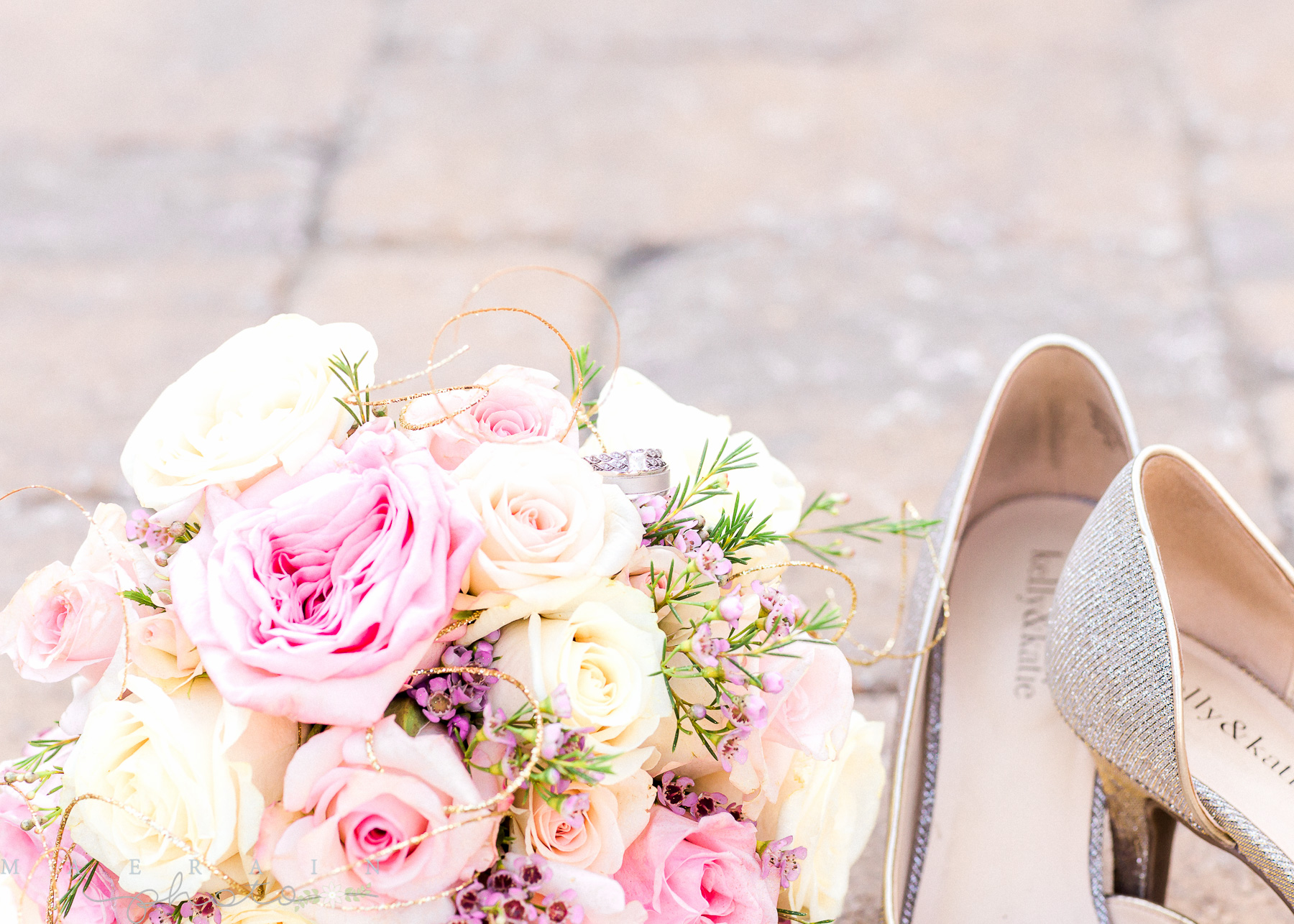 flowers ring and wedding shoes