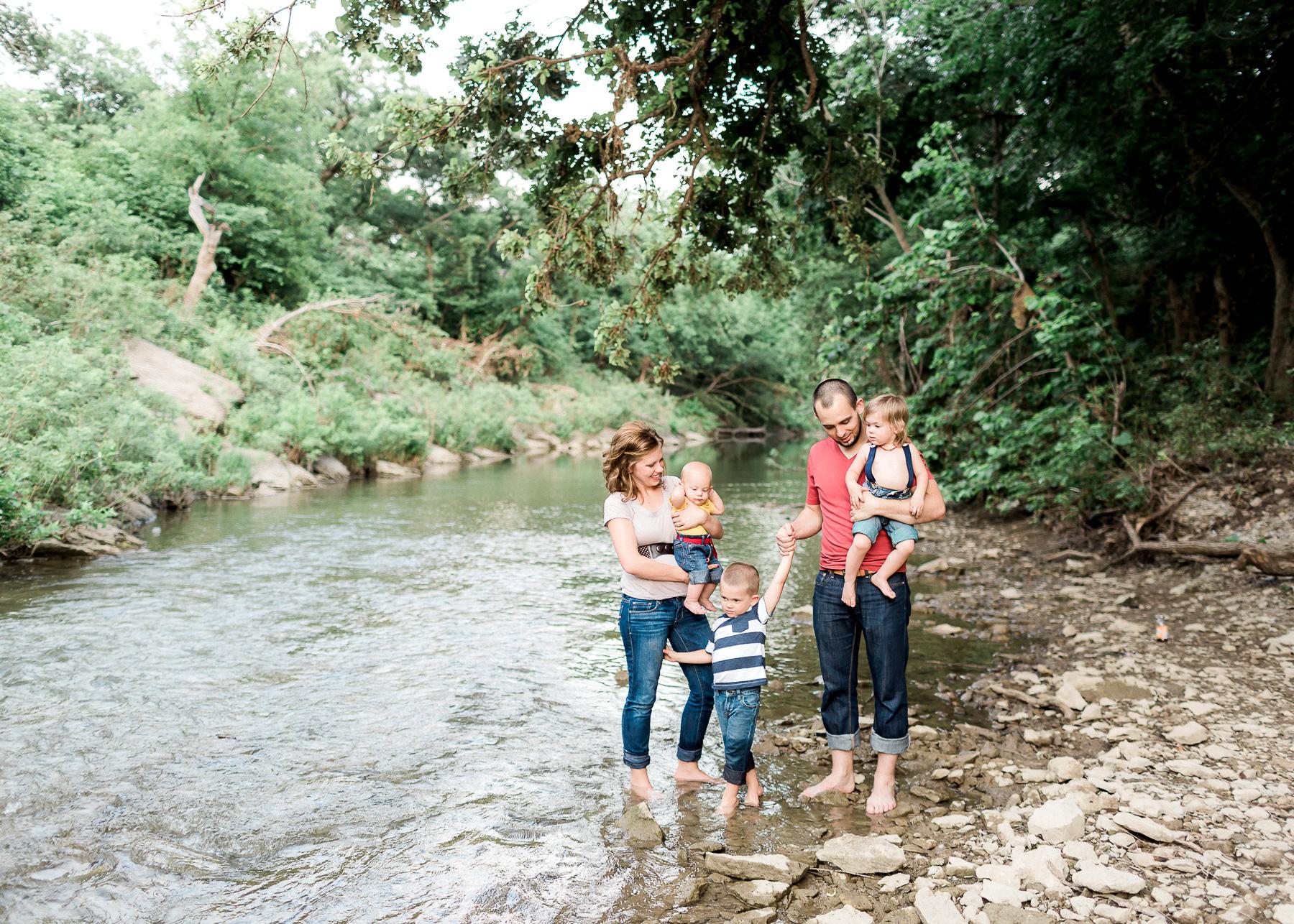 family near creek