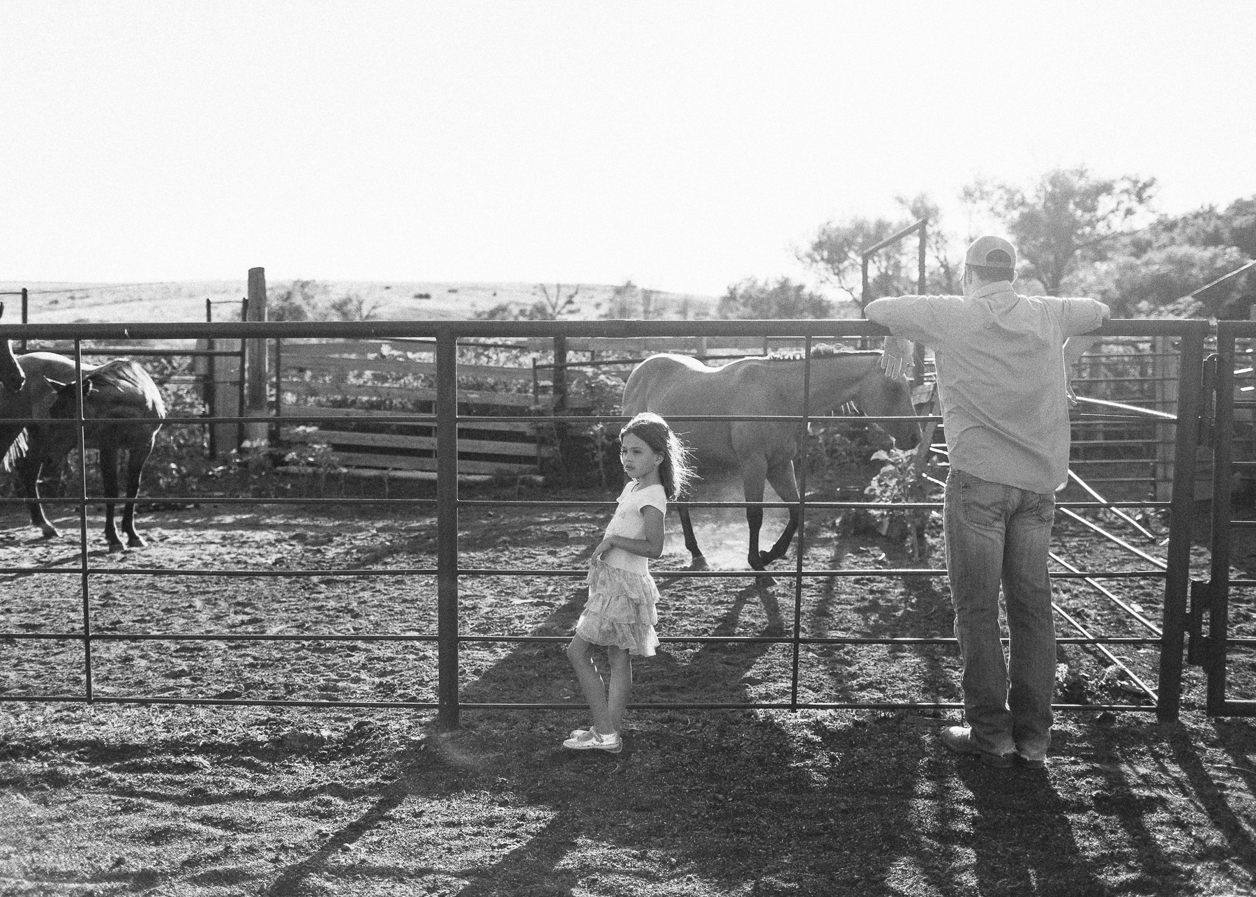 girl with daddy and horses
