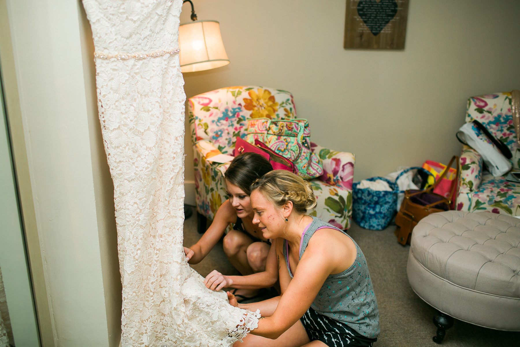 Made of Honor and Bride pinning dress