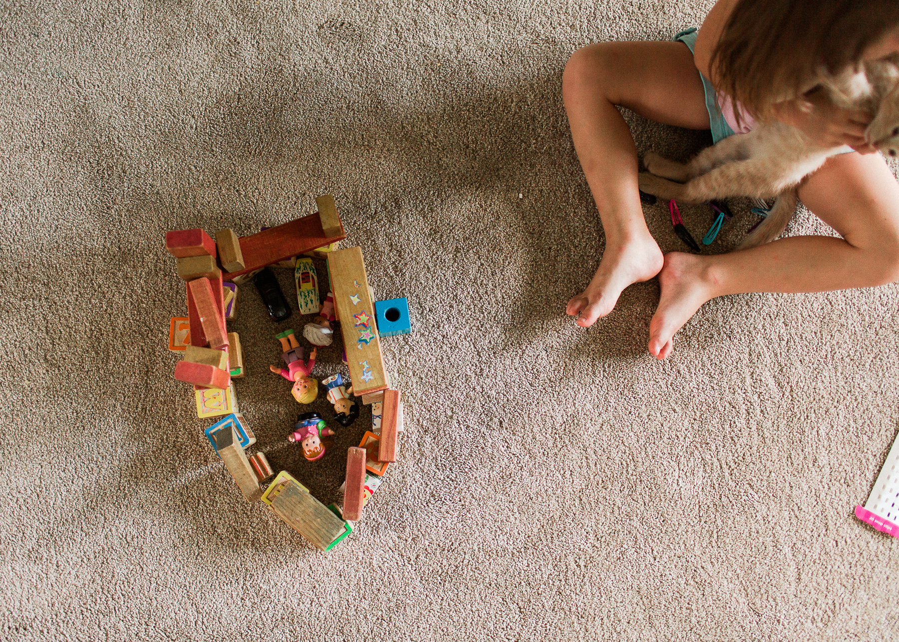 daughter playing with blocks